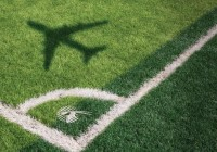 Football field with airplane