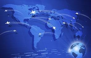 Global Aviation Concept Blue Background